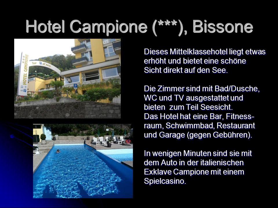 Hotel Campione (***), Bissone Dieses Mittelklassehotel liegt etwas erhöht und bietet eine schöne Sicht direkt auf den See. Die Zimmer sind mit Bad/Dus