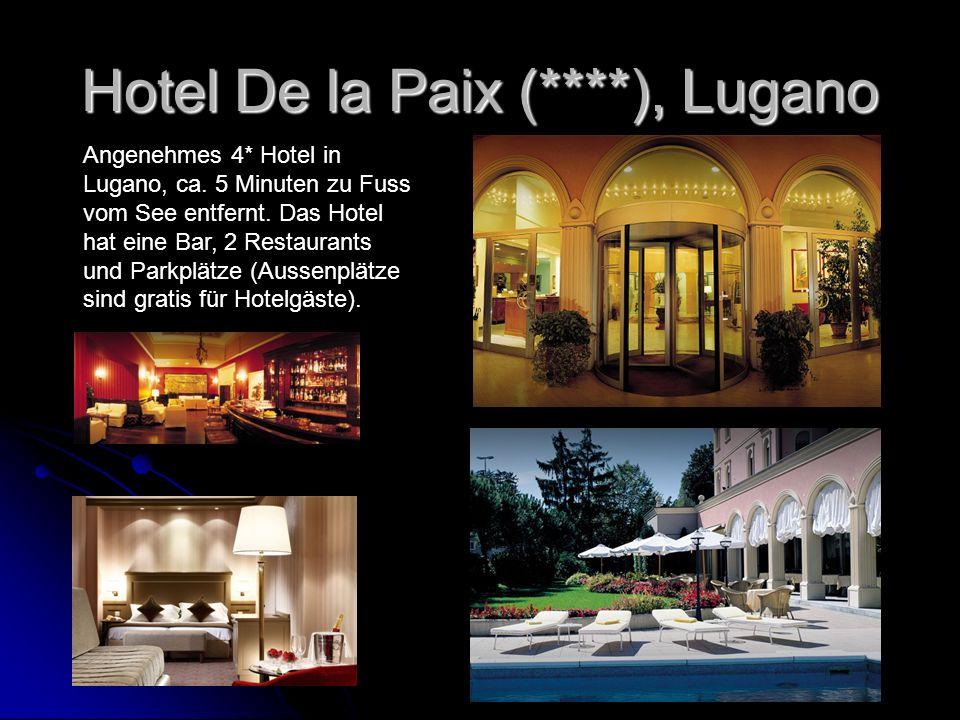 Hotel De la Paix (****), Lugano Angenehmes 4* Hotel in Lugano, ca. 5 Minuten zu Fuss vom See entfernt. Das Hotel hat eine Bar, 2 Restaurants und Parkp