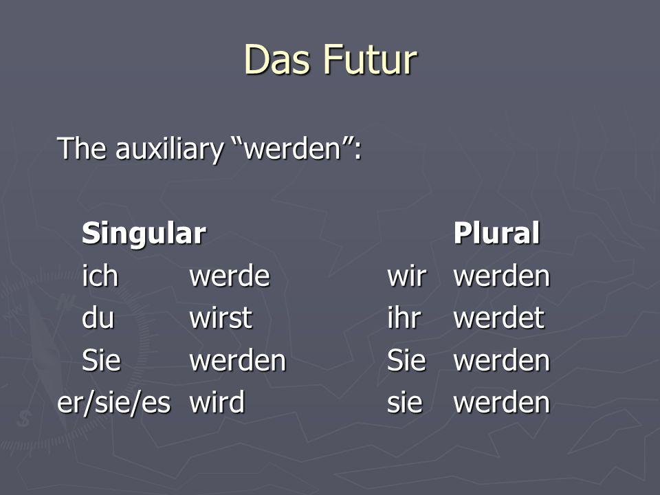 Das Futur The auxiliary werden: SingularPlural ichwerdewirwerden du wirstihrwerdet Sie werdenSiewerden er/sie/eswirdsie werden