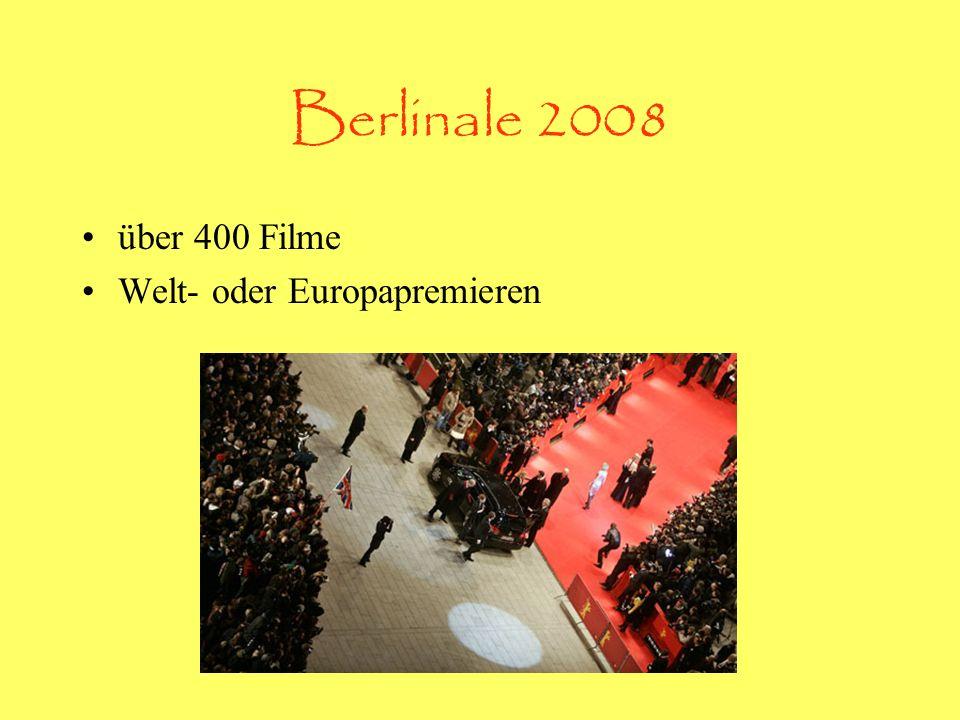 Berlinale 2008 über 400 Filme Welt- oder Europapremieren