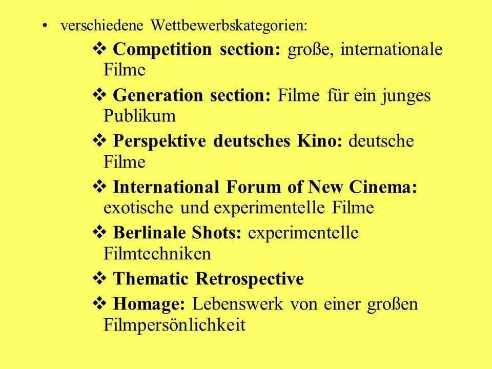 Berlinale 2008 Verschiedene Jurys und Preise, z.B.: Goldener & Silbener Bär verschiedene Kategorien; internationale Jury Kristallbär in der Kategorie Generation, Jury sind Kinder
