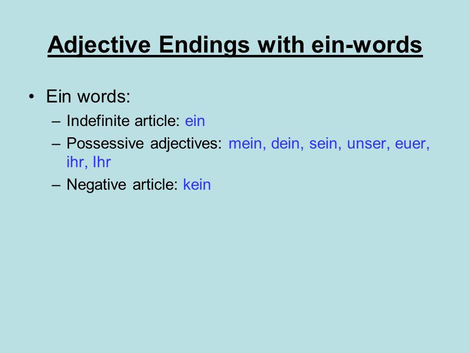 Adjective Endings with ein-words Ein words: –Indefinite article: ein –Possessive adjectives: mein, dein, sein, unser, euer, ihr, Ihr –Negative article: kein