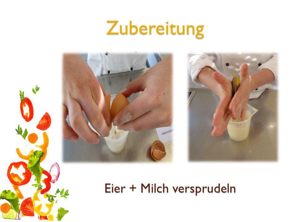 Mehl + Salz mit Milch-Eier Gemisch vermengen und zu glattem Teig verrühren