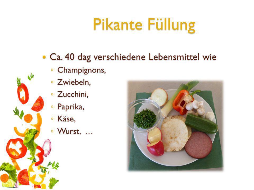 Pikante Füllung Ca. 40 dag verschiedene Lebensmittel wie Ca. 40 dag verschiedene Lebensmittel wie Champignons, Champignons, Zwiebeln, Zwiebeln, Zucchi