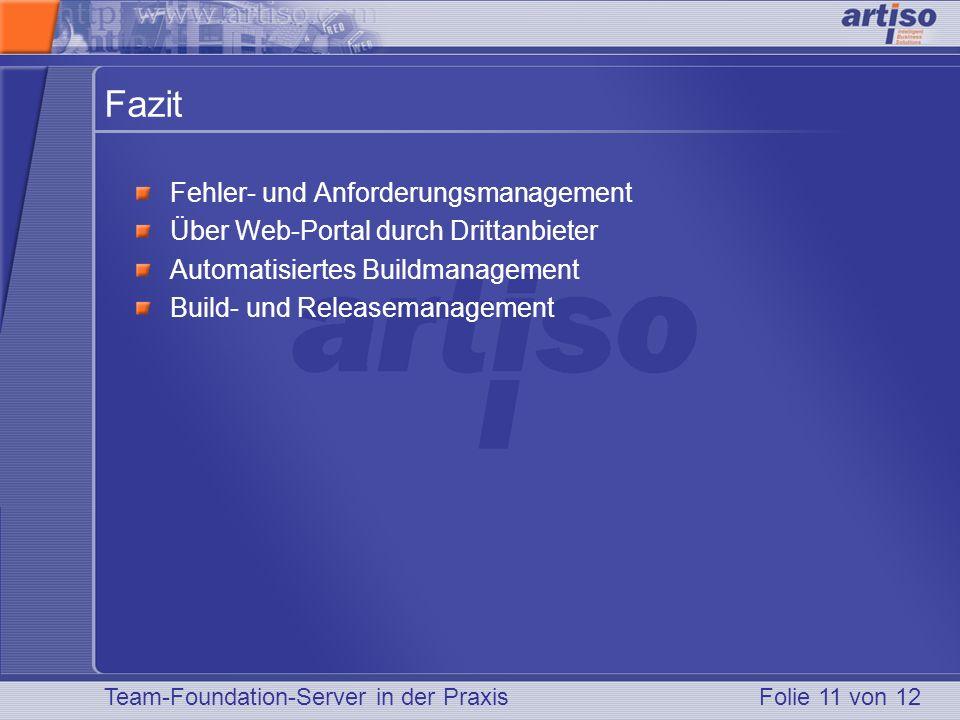 Team-Foundation-Server in der PraxisFolie 11 von 12 Fazit Fehler- und Anforderungsmanagement Über Web-Portal durch Drittanbieter Automatisiertes Buildmanagement Build- und Releasemanagement