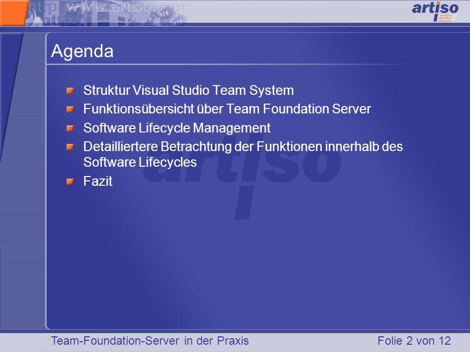 Folie 2 von 12 Agenda Struktur Visual Studio Team System Funktionsübersicht über Team Foundation Server Software Lifecycle Management Detailliertere B