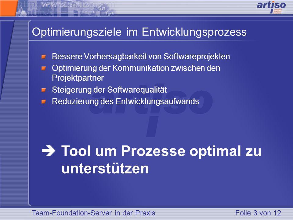 Team-Foundation-Server in der PraxisFolie 3 von 12 Optimierungsziele im Entwicklungsprozess Bessere Vorhersagbarkeit von Softwareprojekten Optimierung der Kommunikation zwischen den Projektpartner Steigerung der Softwarequalität Reduzierung des Entwicklungsaufwands Tool um Prozesse optimal zu unterstützen