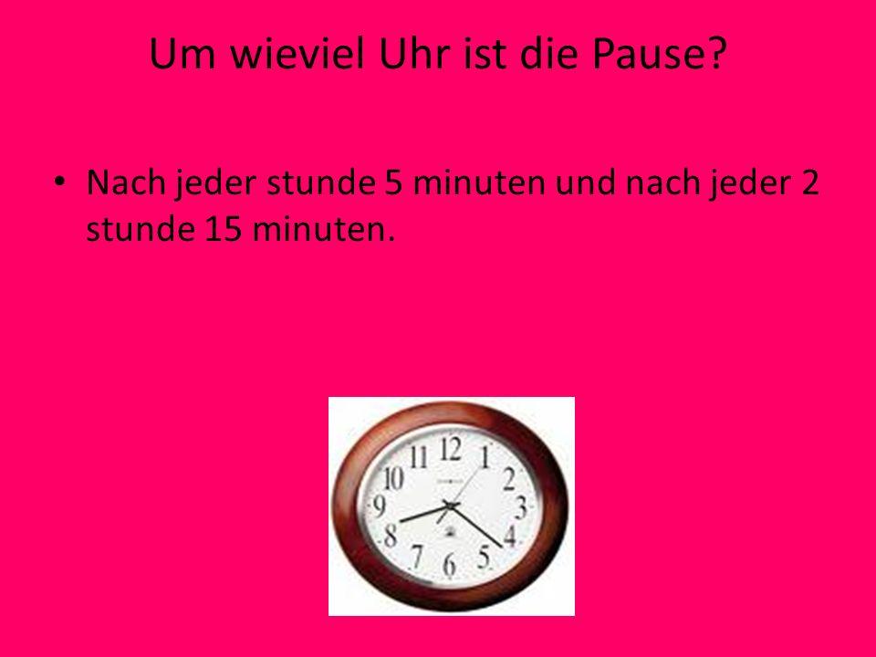 Um wieviel Uhr ist die Pause? Nach jeder stunde 5 minuten und nach jeder 2 stunde 15 minuten.