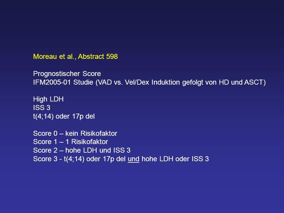Moreau et al., Abstract 598 Prognostischer Score IFM2005-01 Studie (VAD vs. Vel/Dex Induktion gefolgt von HD und ASCT) High LDH ISS 3 t(4;14) oder 17p