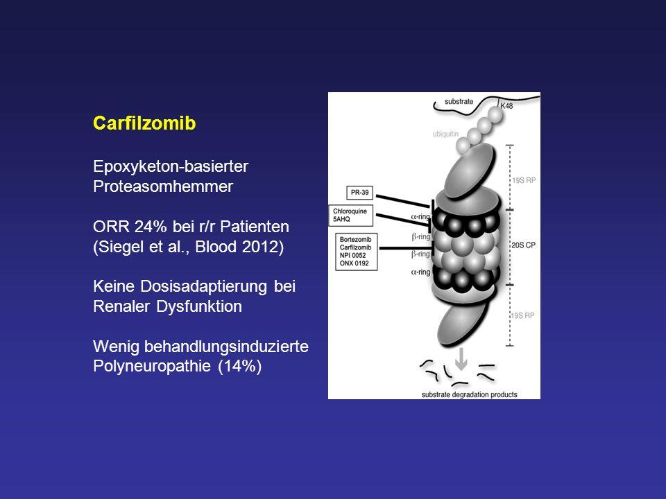 Carfilzomib Epoxyketon-basierter Proteasomhemmer ORR 24% bei r/r Patienten (Siegel et al., Blood 2012) Keine Dosisadaptierung bei Renaler Dysfunktion