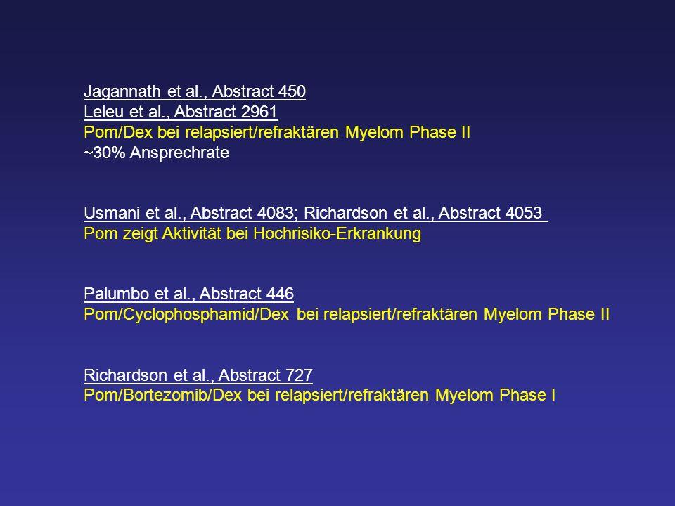 Jagannath et al., Abstract 450 Leleu et al., Abstract 2961 Pom/Dex bei relapsiert/refraktären Myelom Phase II 30% Ansprechrate Usmani et al., Abstract