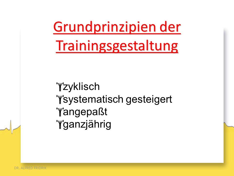 DR. ALFRED FRIDRIK zyklisch systematisch gesteigert angepaßt ganzjährig Grundprinzipien der Trainingsgestaltung