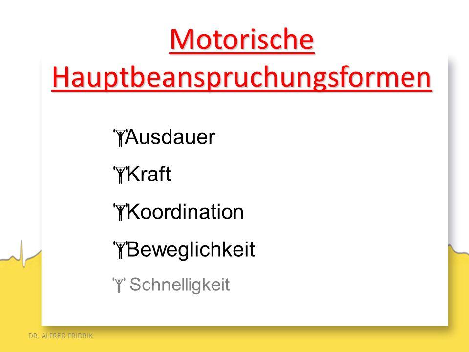 DR. ALFRED FRIDRIK Ausdauer Kraft Koordination Beweglichkeit Schnelligkeit MotorischeHauptbeanspruchungsformen