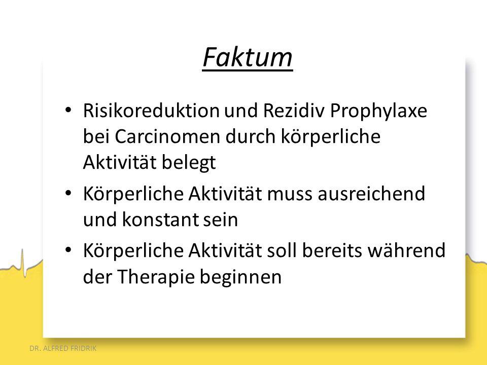 Risikoreduktion und Rezidiv Prophylaxe bei Carcinomen durch körperliche Aktivität belegt Körperliche Aktivität muss ausreichend und konstant sein Körp