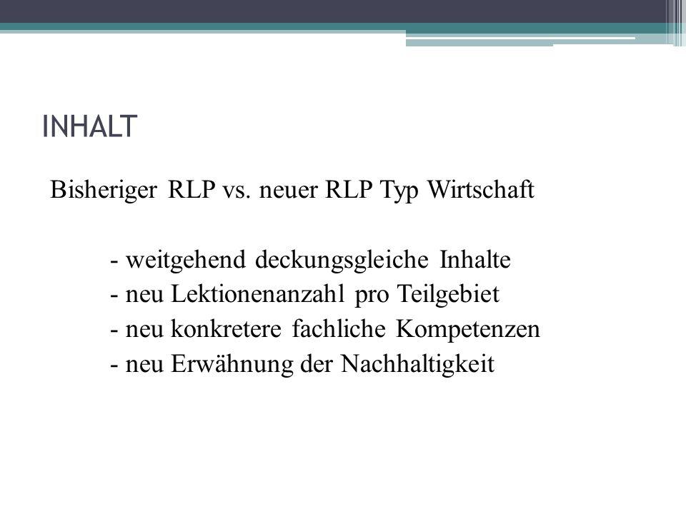 INHALT Neuer RLP Typ Wirtschaft vs.Typ DL -Grundsatz RLP S.