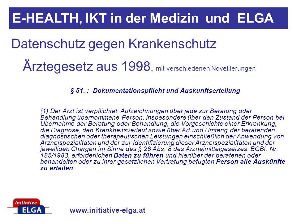 www.initiative-elga.at Datenschutz gegen Krankenschutz Ärztegesetz aus 1998, mit verschiedenen Novellierungen § 51. : Dokumentationspflicht und Auskun