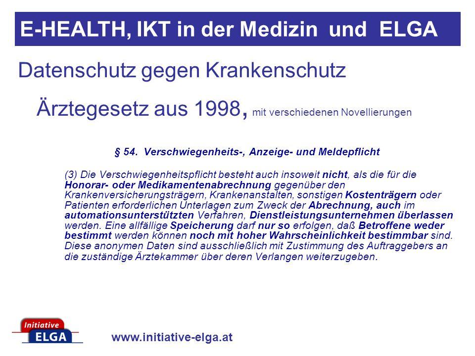 www.initiative-elga.at Datenschutz gegen Krankenschutz Ärztegesetz aus 1998, mit verschiedenen Novellierungen § 54. Verschwiegenheits-, Anzeige- und M