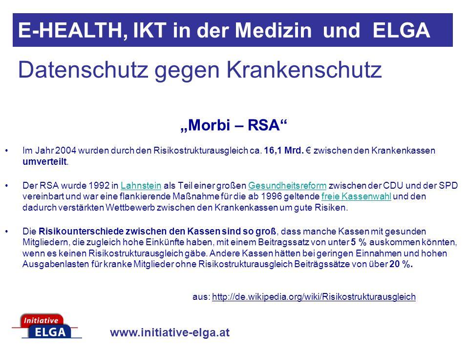 www.initiative-elga.at E-HEALTH, IKT in der Medizin und ELGA Im Jahr 2004 wurden durch den Risikostrukturausgleich ca. 16,1 Mrd. zwischen den Krankenk