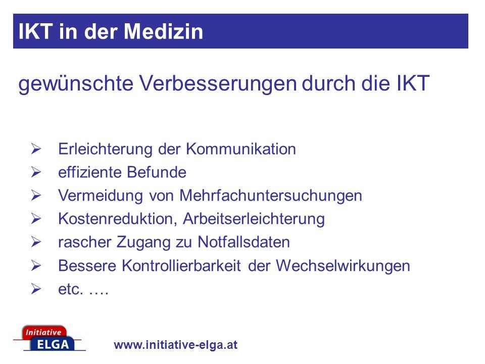 www.initiative-elga.at Erleichterung der Kommunikation effiziente Befunde Vermeidung von Mehrfachuntersuchungen Kostenreduktion, Arbeitserleichterung
