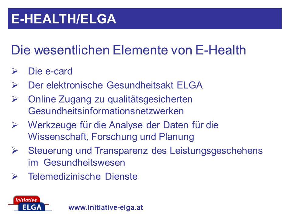 www.initiative-elga.at Die e-card Der elektronische Gesundheitsakt ELGA Online Zugang zu qualitätsgesicherten Gesundheitsinformationsnetzwerken Werkze