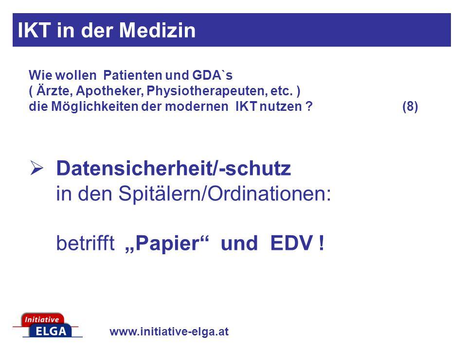 www.initiative-elga.at Datensicherheit/-schutz in den Spitälern/Ordinationen: betrifft Papier und EDV ! Wie wollen Patienten und GDA`s ( Ärzte, Apothe