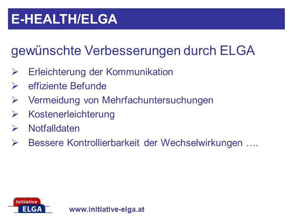 www.initiative-elga.at Erleichterung der Kommunikation effiziente Befunde Vermeidung von Mehrfachuntersuchungen Kostenerleichterung Notfalldaten Besse