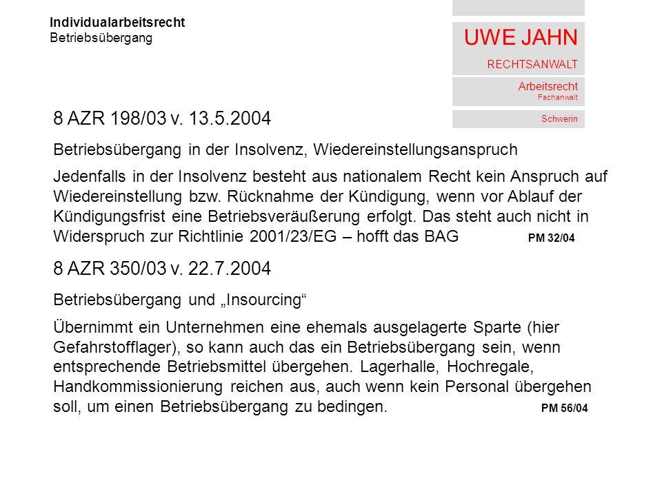 UWE JAHN RECHTSANWALT Arbeitsrecht Fachanwalt Schwerin Individualarbeitsrecht Betriebsübergang 8 AZR 198/03 v. 13.5.2004 Betriebsübergang in der Insol