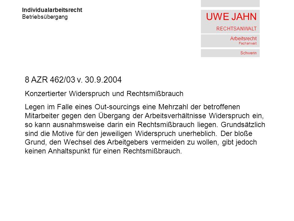 UWE JAHN RECHTSANWALT Arbeitsrecht Fachanwalt Schwerin Individualarbeitsrecht Betriebsübergang 8 AZR 462/03 v. 30.9.2004 Konzertierter Widerspruch und