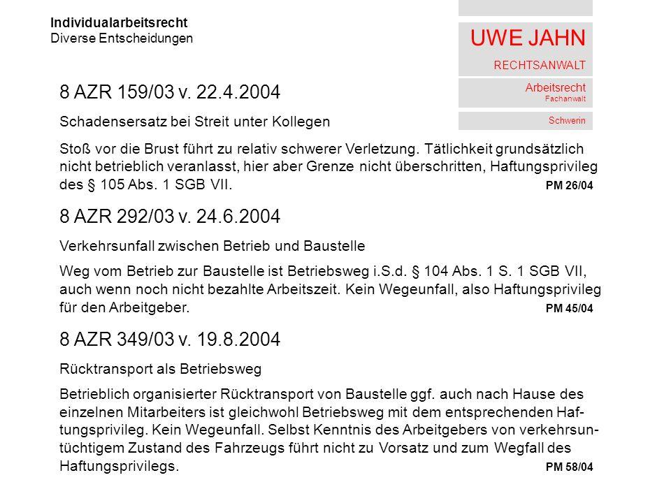 UWE JAHN RECHTSANWALT Arbeitsrecht Fachanwalt Schwerin Individualarbeitsrecht Diverse Entscheidungen 8 AZR 159/03 v. 22.4.2004 Schadensersatz bei Stre