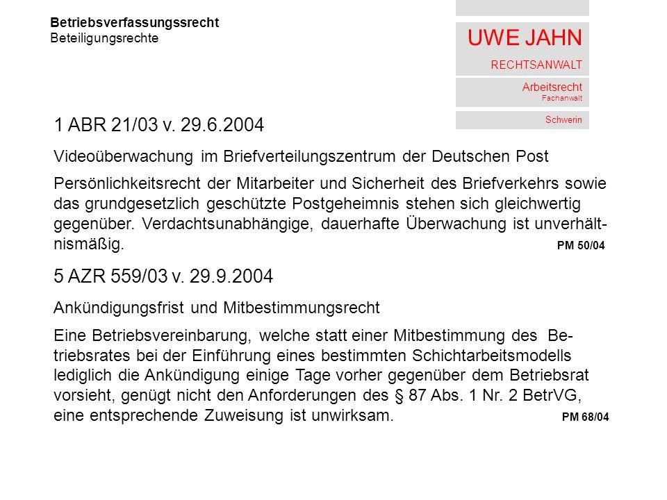 UWE JAHN RECHTSANWALT Arbeitsrecht Fachanwalt Schwerin Betriebsverfassungssrecht Beteiligungsrechte 1 ABR 21/03 v. 29.6.2004 Videoüberwachung im Brief