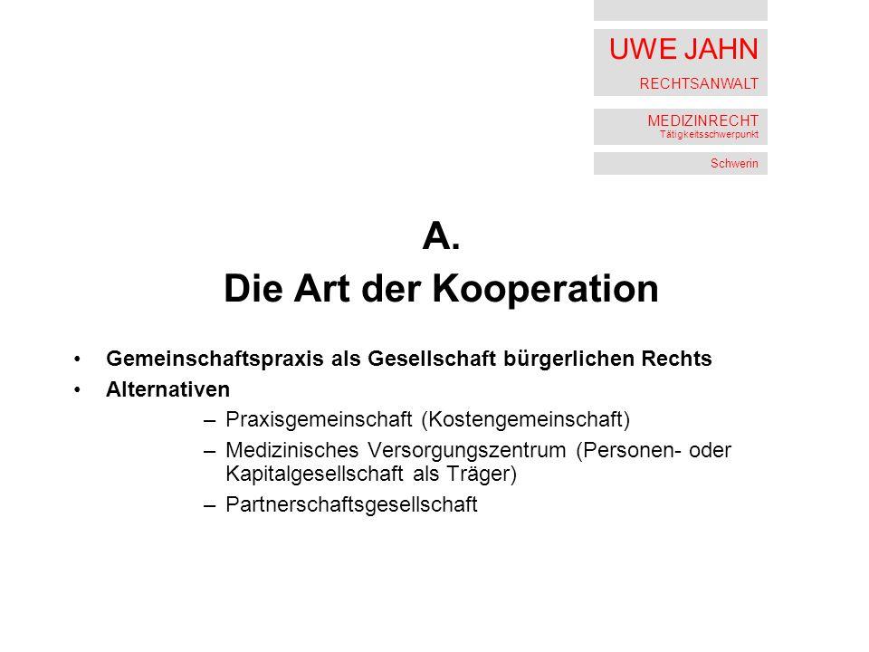 UWE JAHN RECHTSANWALT MEDIZINRECHT Tätigkeitsschwerpunkt Schwerin A.