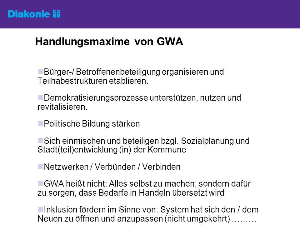 Handlungsmaxime von GWA Bürger-/ Betroffenenbeteiligung organisieren und Teilhabestrukturen etablieren.