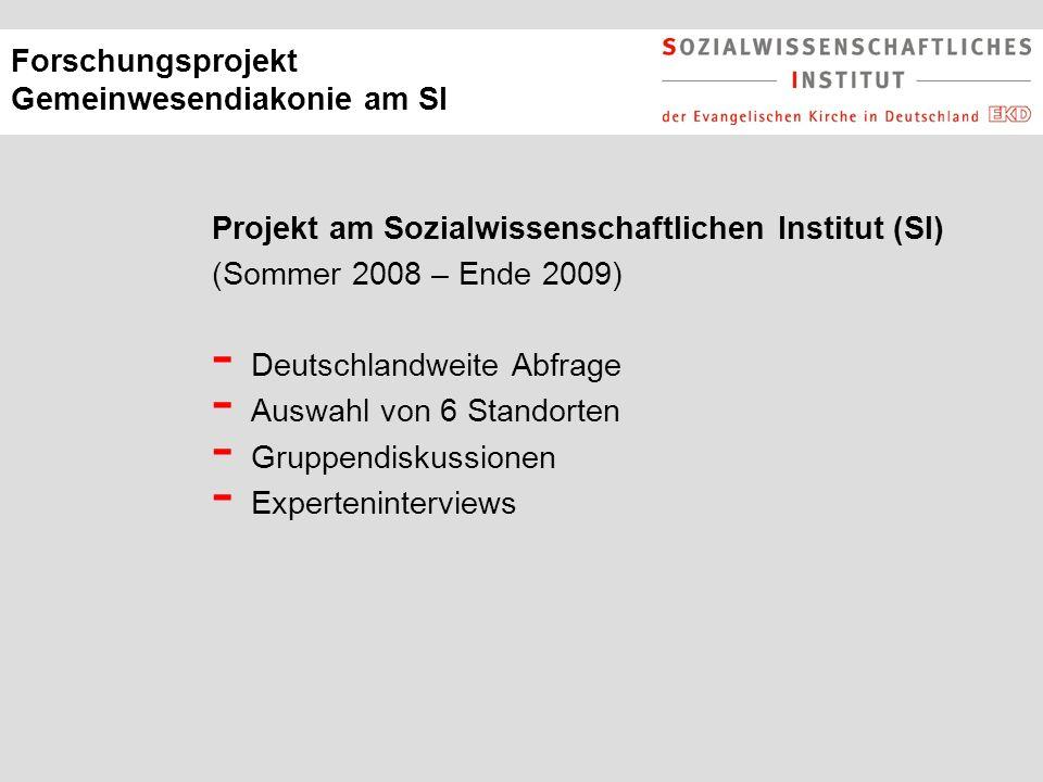 Forschungsprojekt Gemeinwesendiakonie am SI Projekt am Sozialwissenschaftlichen Institut (SI) (Sommer 2008 – Ende 2009) - Deutschlandweite Abfrage - Auswahl von 6 Standorten - Gruppendiskussionen - Experteninterviews