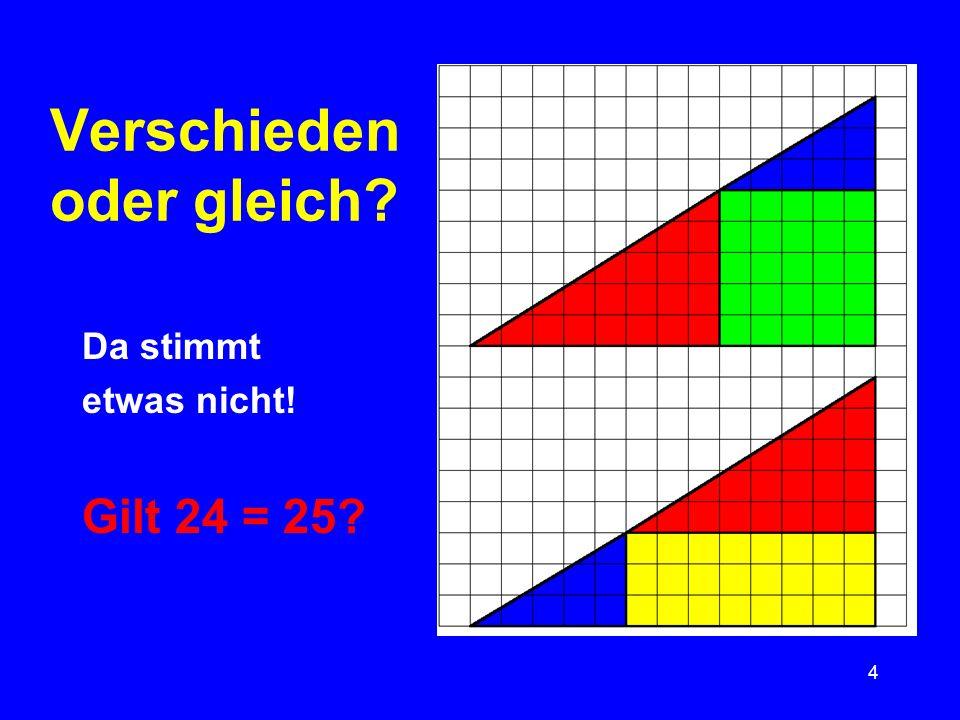 5 Lösung des Rätsels: Das rote und das blaue Dreieck bilden keine durchgehende Linie – die Figur hat einen Knick nach innen (die andere einen Knick nach außen).