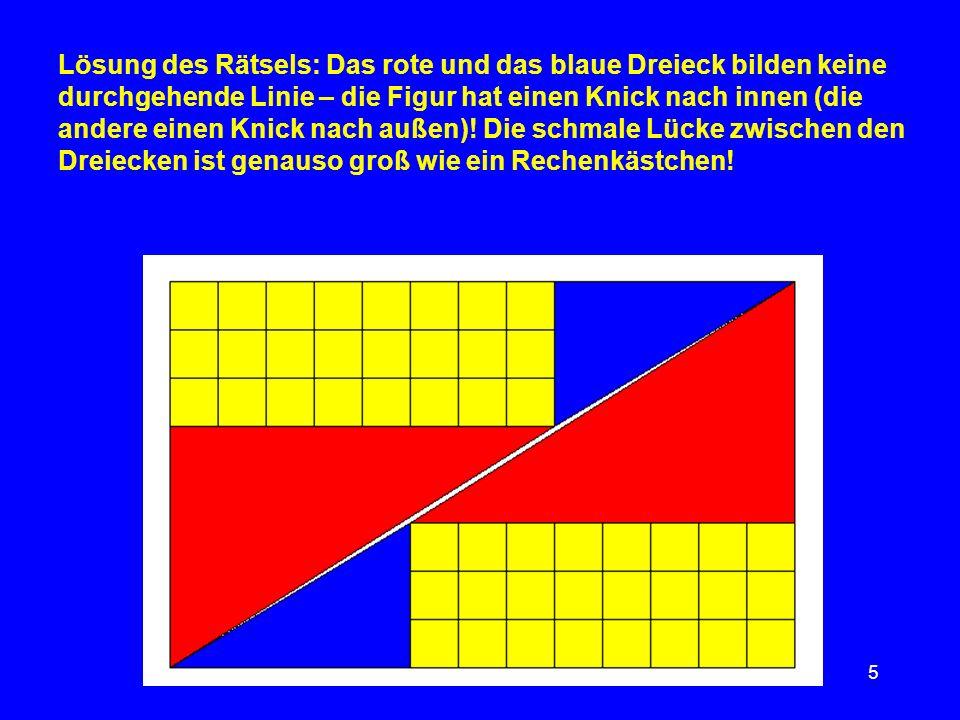 5 Lösung des Rätsels: Das rote und das blaue Dreieck bilden keine durchgehende Linie – die Figur hat einen Knick nach innen (die andere einen Knick na