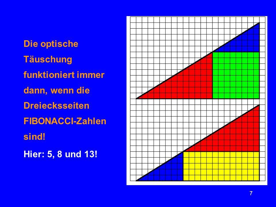 7 Die optische Täuschung funktioniert immer dann, wenn die Dreiecksseiten FIBONACCI-Zahlen sind! Hier: 5, 8 und 13!