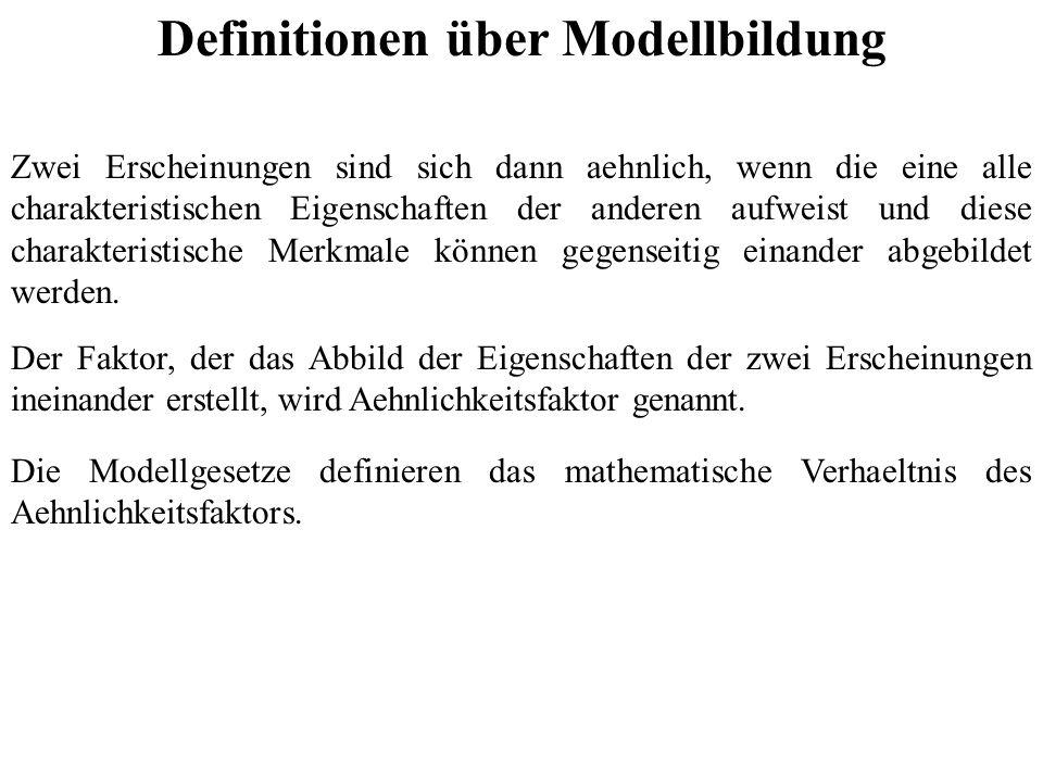 Definitionen über Modellbildung Zwei Erscheinungen sind sich dann aehnlich, wenn die eine alle charakteristischen Eigenschaften der anderen aufweist und diese charakteristische Merkmale können gegenseitig einander abgebildet werden.