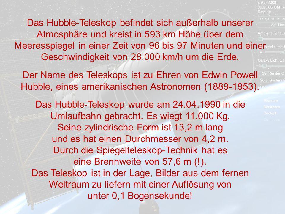 Das Hubble-Teleskop befindet sich außerhalb unserer Atmosphäre und kreist in 593 km Höhe über dem Meeresspiegel in einer Zeit von 96 bis 97 Minuten und einer Geschwindigkeit von 28.000 km/h um die Erde.