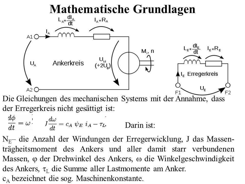 Mathematische Grundlagen Darin ist: N E – die Anzahl der Windungen der Erregerwicklung, J das Massen- trägheitsmoment des Ankers und aller damit starr