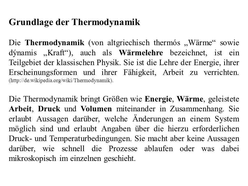 Grundlage der Thermodynamik Die Thermodynamik (von altgriechisch thermós Wärme sowie dýnamis Kraft), auch als Wärmelehre bezeichnet, ist ein Teilgebiet der klassischen Physik.