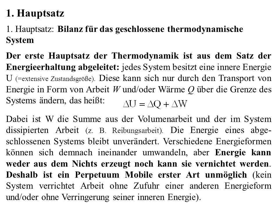1. Hauptsatz 1. Hauptsatz: Bilanz für das geschlossene thermodynamische System Der erste Hauptsatz der Thermodynamik ist aus dem Satz der Energieerhal