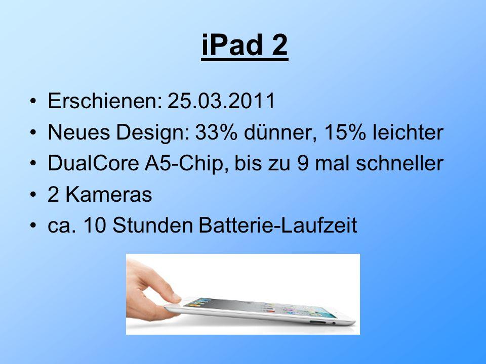iPad 2 Erschienen: 25.03.2011 Neues Design: 33% dünner, 15% leichter DualCore A5-Chip, bis zu 9 mal schneller 2 Kameras ca.