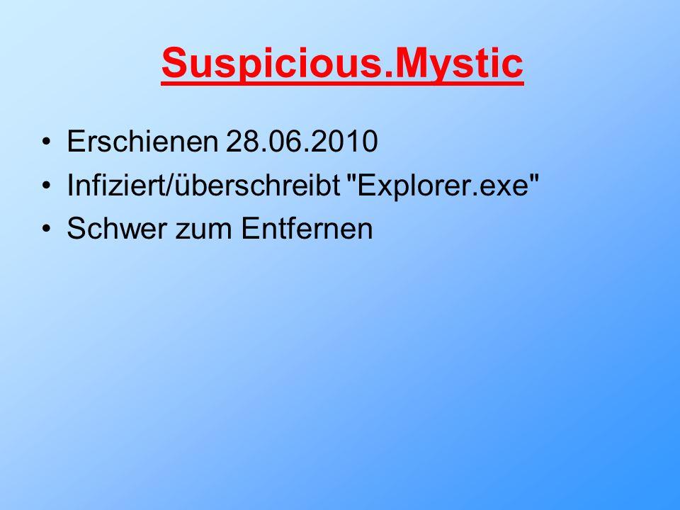Suspicious.Mystic Erschienen 28.06.2010 Infiziert/überschreibt Explorer.exe Schwer zum Entfernen