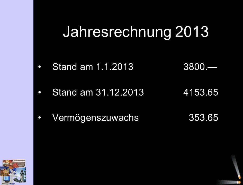 Jahresrechnung 2013 Stand am 1.1.2013 3800. Stand am 31.12.20134153.65 Vermögenszuwachs353.65