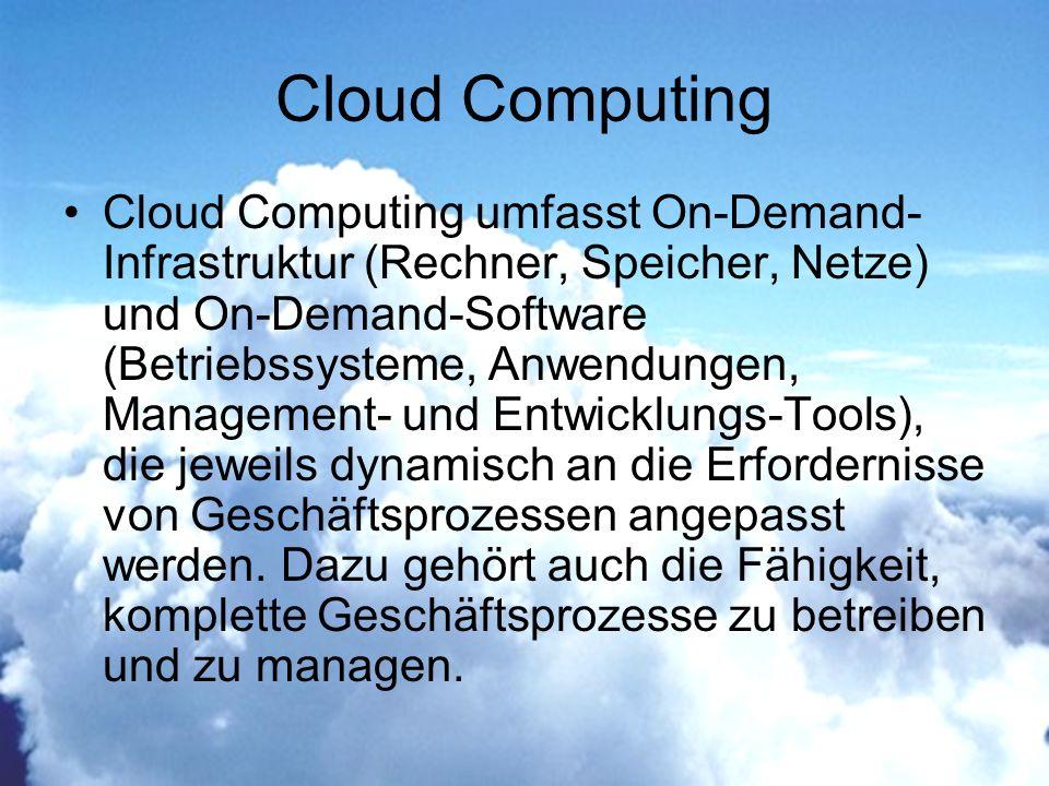 Cloud Computing Cloud Computing umfasst On-Demand- Infrastruktur (Rechner, Speicher, Netze) und On-Demand-Software (Betriebssysteme, Anwendungen, Management- und Entwicklungs-Tools), die jeweils dynamisch an die Erfordernisse von Geschäftsprozessen angepasst werden.