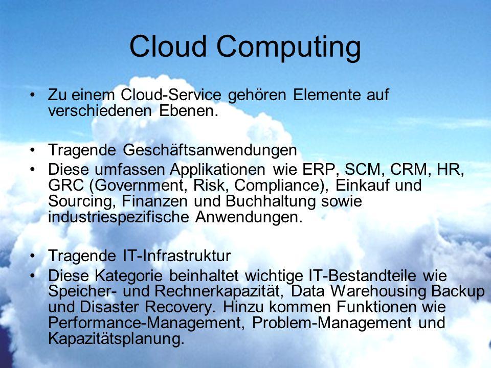 Cloud Computing Zu einem Cloud-Service gehören Elemente auf verschiedenen Ebenen.