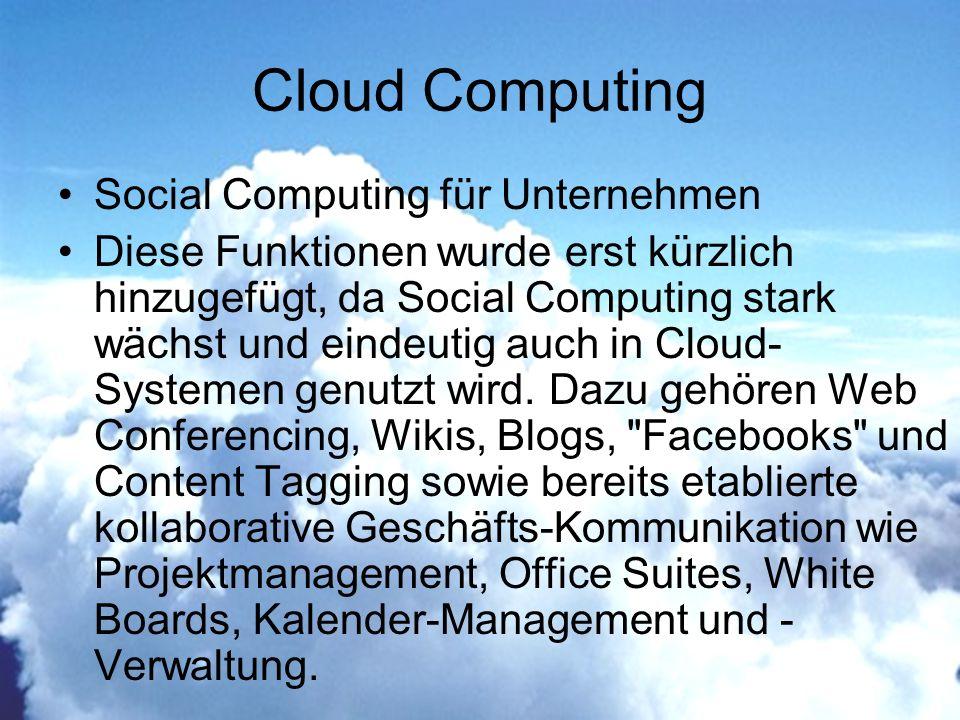 Cloud Computing Social Computing für Unternehmen Diese Funktionen wurde erst kürzlich hinzugefügt, da Social Computing stark wächst und eindeutig auch in Cloud- Systemen genutzt wird.