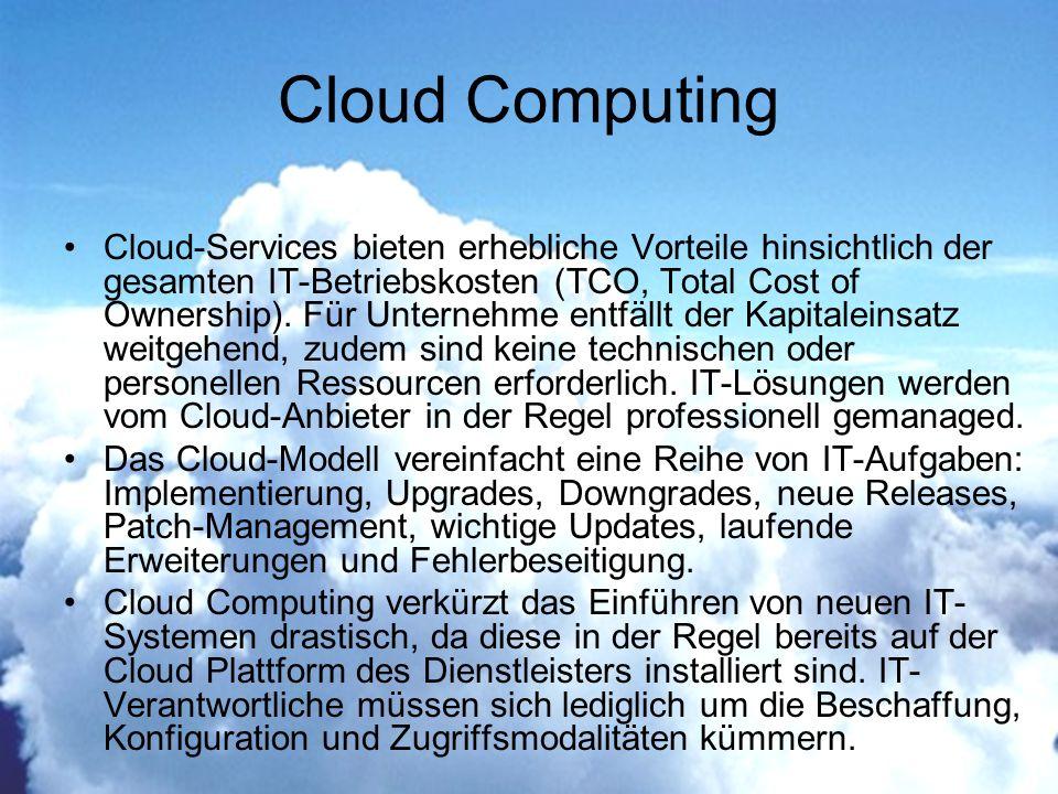 Cloud-Services bieten erhebliche Vorteile hinsichtlich der gesamten IT-Betriebskosten (TCO, Total Cost of Ownership).