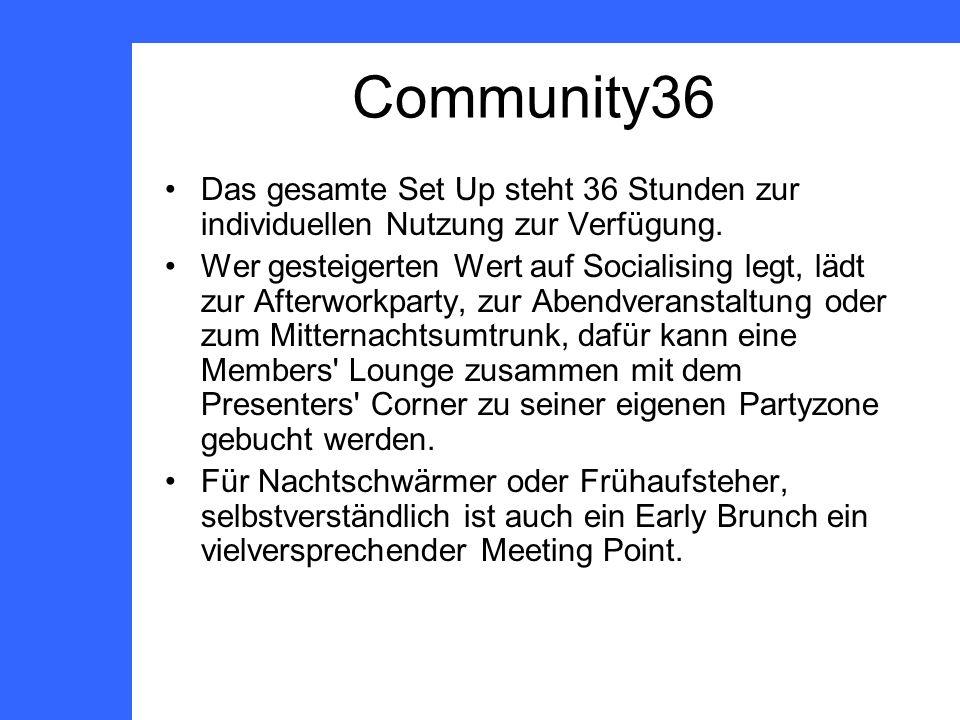 Community36 Das gesamte Set Up steht 36 Stunden zur individuellen Nutzung zur Verfügung.