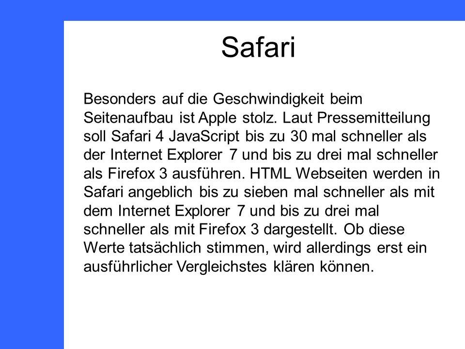 Safari Besonders auf die Geschwindigkeit beim Seitenaufbau ist Apple stolz.